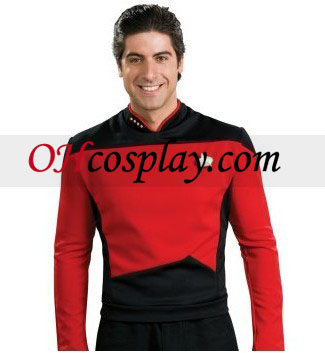 Star Trek Next Generation Shirt Red Deluxe Adult Traje