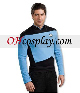 Star Trek Next Generation camisa azul Deluxe Adult Traje