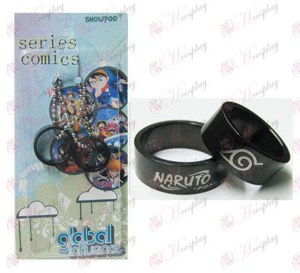 Naruto konoha card installed black steel couple rings