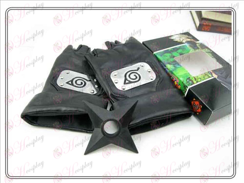 Naruto konoha black leather gloves + Shuriken (three-piece)