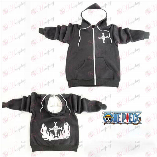 One Piece Accessories gray white beard logo zipper hoodies
