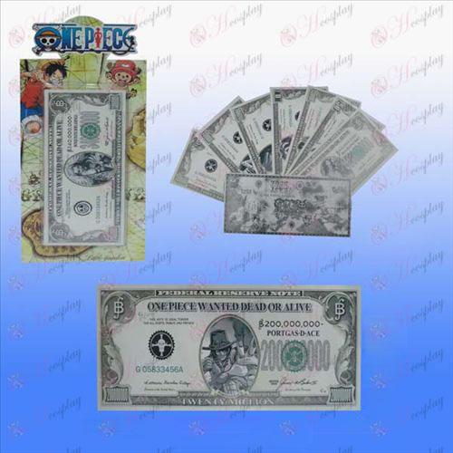 紙幣をインストールワンピースアクセサリーカード