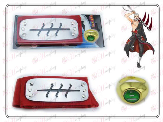 Naruto fly segment red headband + Five words ring