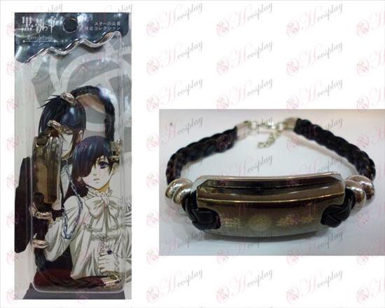 Negro mayordomo Accesorios logo pulsera de cuero Shuangpai compacto
