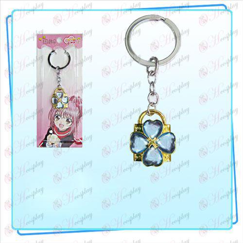 Shugo Chara! Príslušenstvo Lock krúžok na kľúče (zlatý zámky modrý diamant)