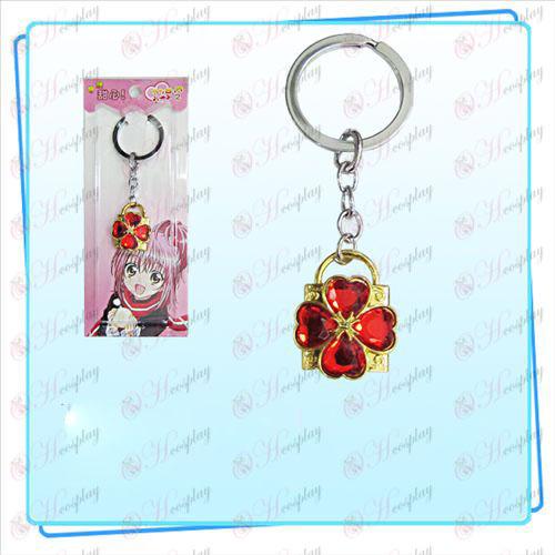 Shugo Chara! Príslušenstvo Lock krúžok na kľúče (zlatý zámok červený diamant)