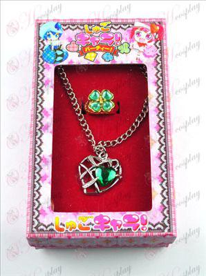 Shugo Chara! Tilbehør hjerteformet kjede + ring (grønn)