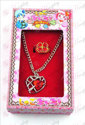 Shugo Chara! Tilbehør hjerteformet kjede + ring (rød)