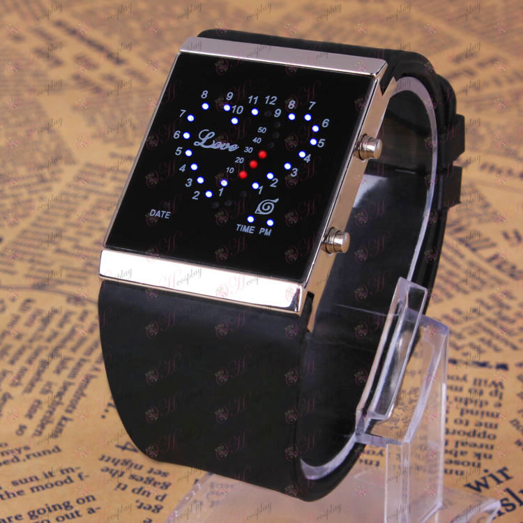 Naruto konoha logo LED watch black love