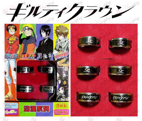 Guilty Crown Accesorios anillo negro giratorio de acero 6 un traje