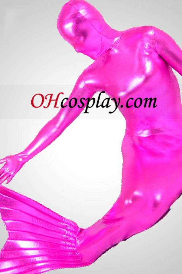 Rose skinnende metallisk Mermaid Zentai Suit
