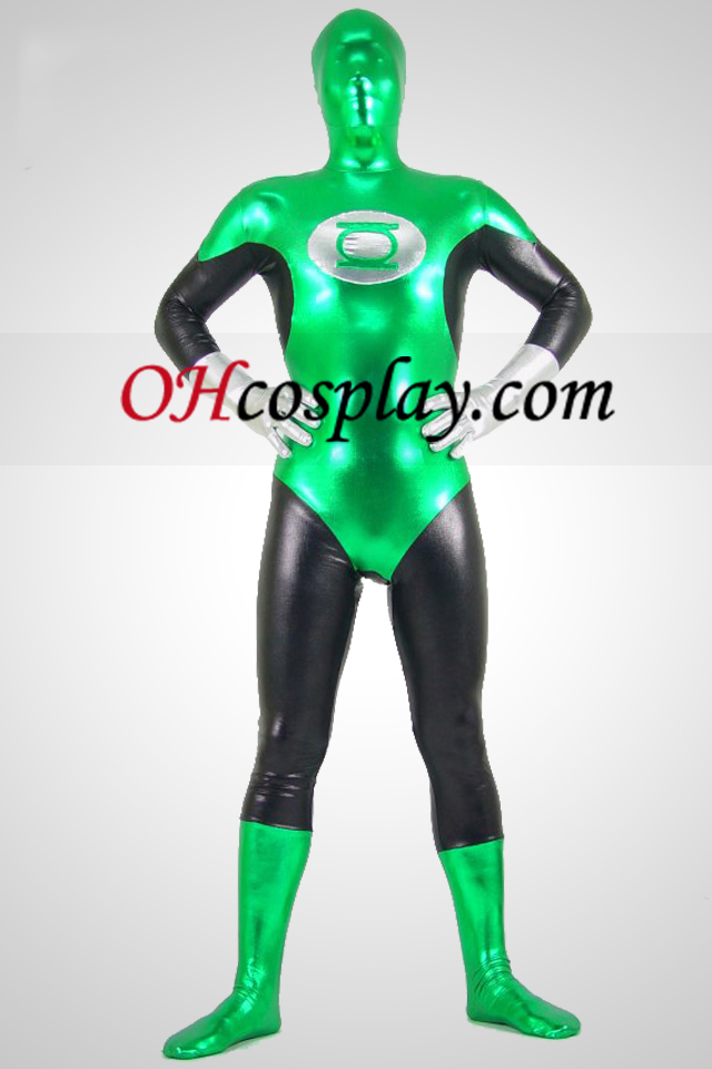 Green Lantern Shiny Metallic Superhero Zentai Suit