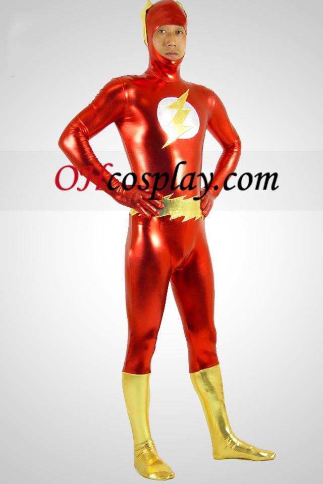 Rojo y oro el flash metálico brillante superhéroe traje Zentai