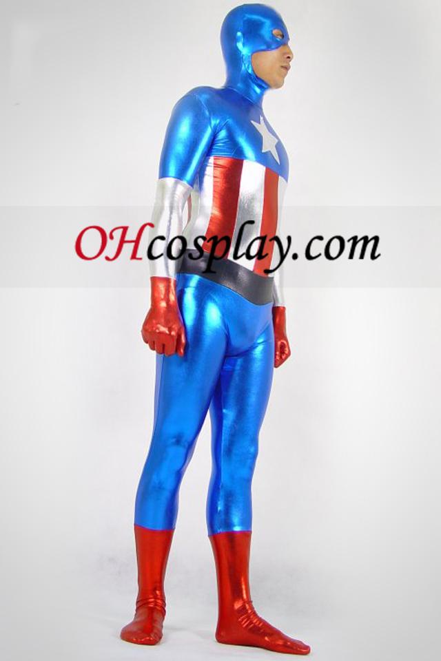 Capitán América metálico brillante Superhero Zentai