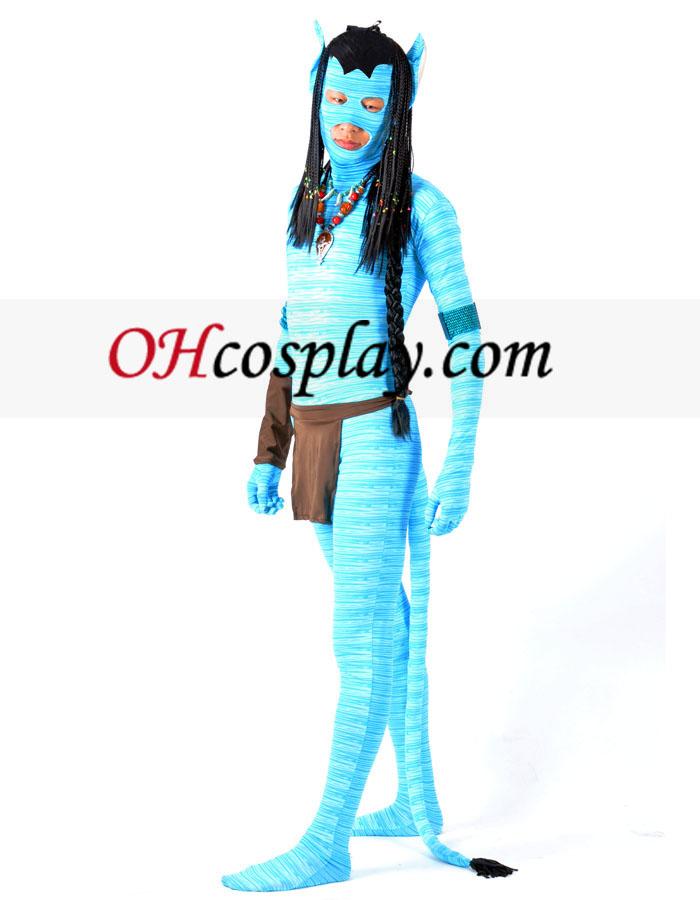 Azul Avatar Lycra Spandex Zentai Superhero Con peluca y Accesorios