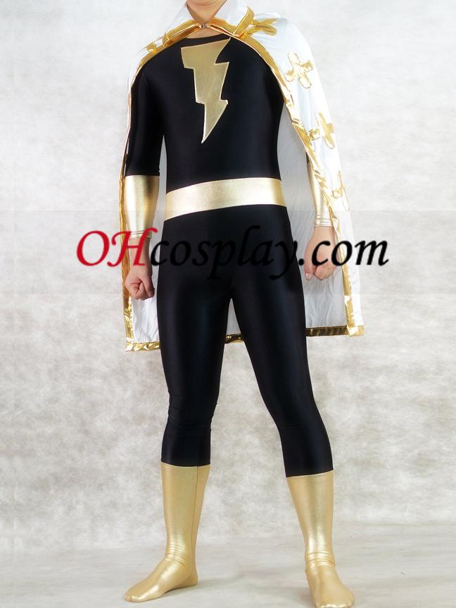 Gull og svart Shiny Metallic Unisex Superhero Zentai Suit