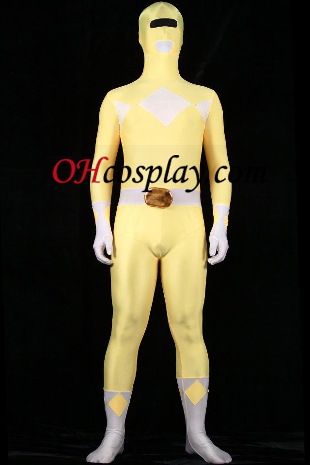 Gul og hvit Lycra Spandex Unisex Zentai Suit