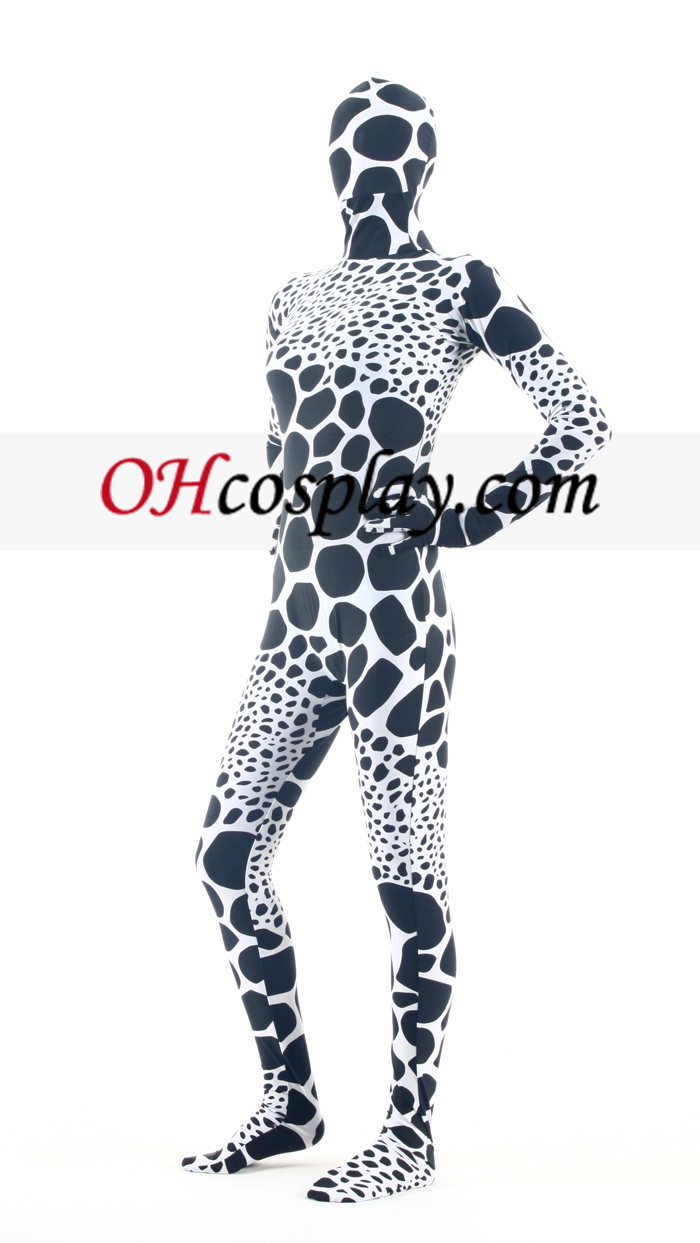 Black White Giraffe Pattern Lycra Zentai Suit