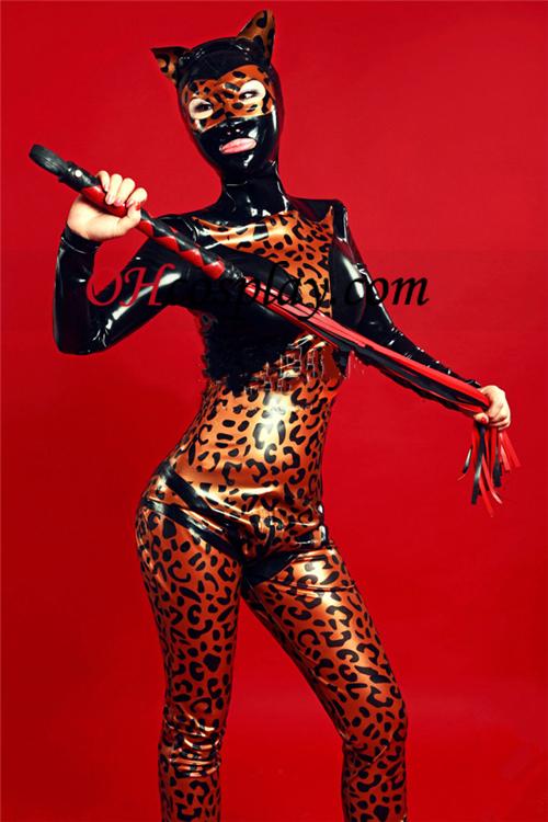 Svart og Leopard Latex Catsuit med åpne øyne og munn