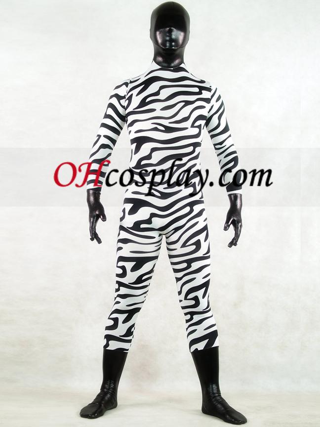 Zebra Skin Full Body Lycra Spandex Zentai Suit