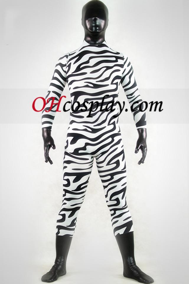 Shiny Metallic Hvit og svart Zebra Zentai Suit