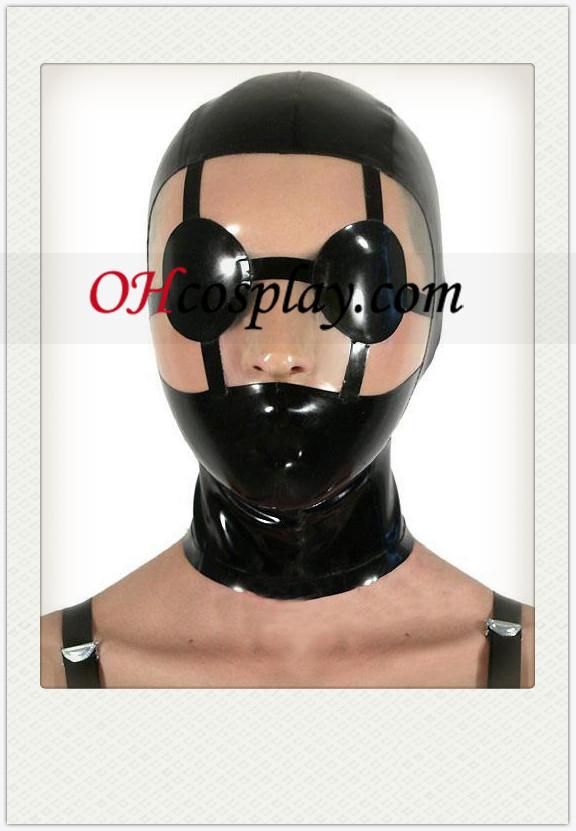 Brillante Negro SM Látex Máscara con visera Distinct