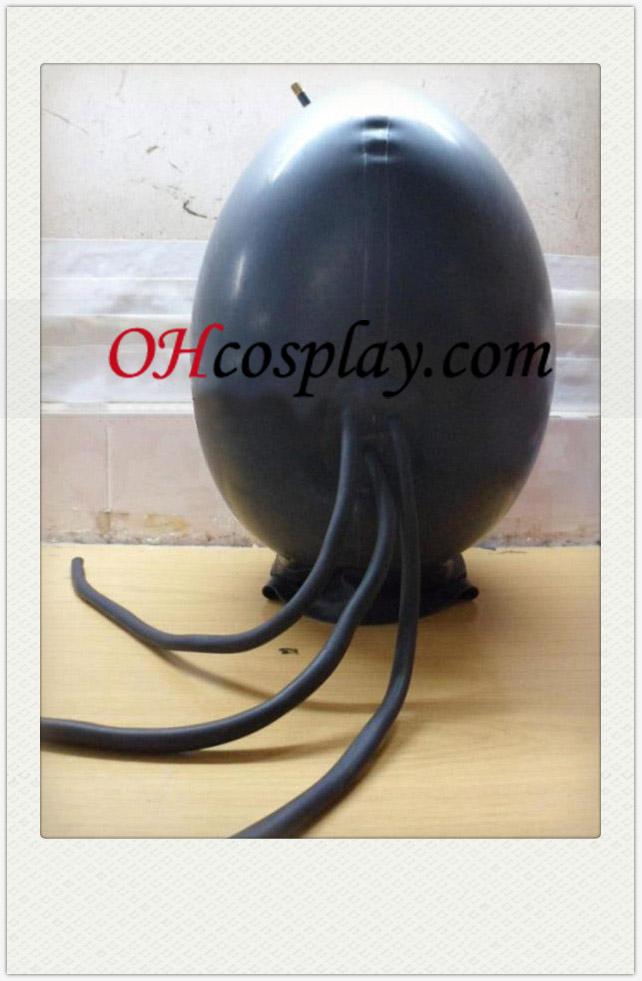 Nueva Ronda Negro SM Latex Mask con tres tubos de aire