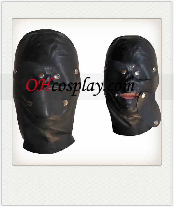 Black Full Face Covered Latex Mask with Removable Eyeshade and Mouth-muffle