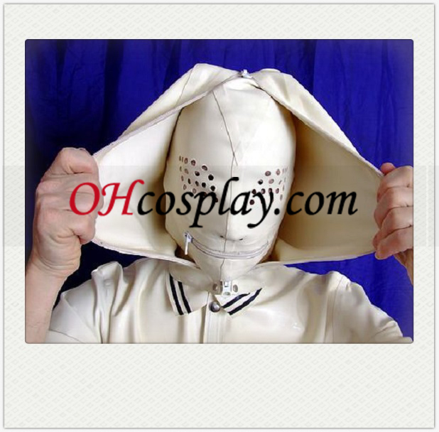 White Full Face Covered SM Latex Mask with Mesh and Zippered Mouth