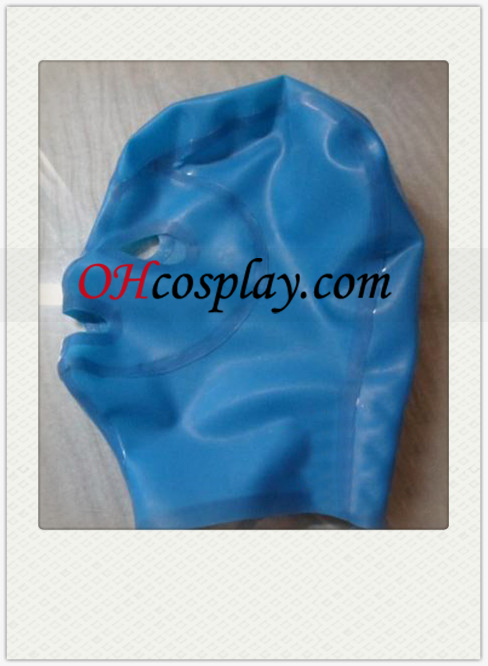 Blue Unisex Latex Mask with Open Eyes and Mouth