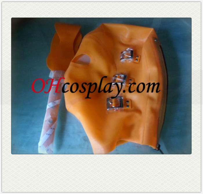 Orange SM Pull Buckled Latex Mask with Movable Eyeshade
