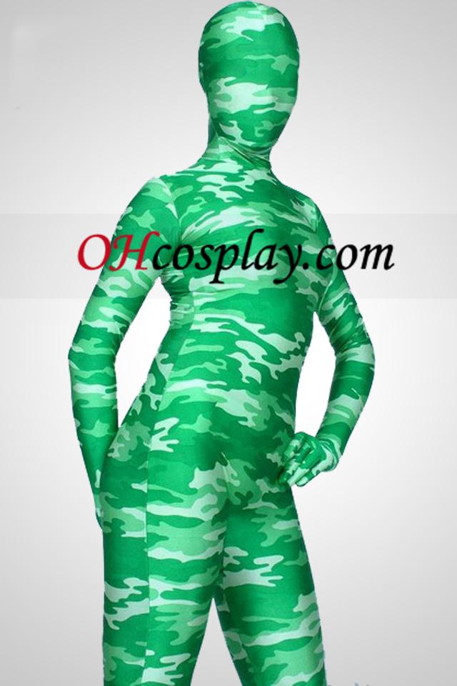 Luz Verde Camuflaje color de Lycra Spandex traje Zentai