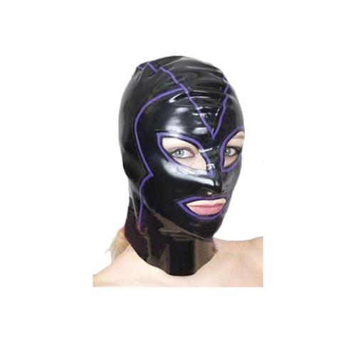 光沢のある黒い女性コスプレ裏地ラテックスは、Open目と口のマスク