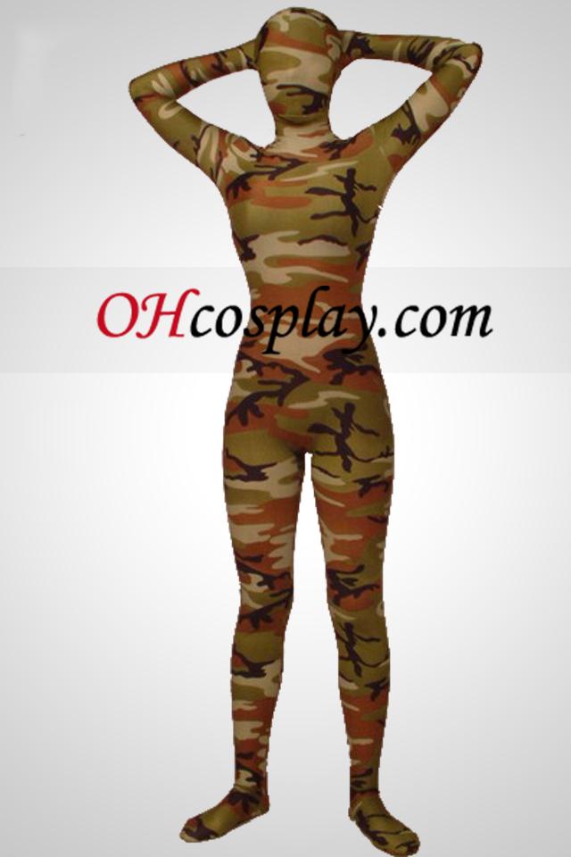 Verde del ejército Camuflaje Lycra Zentai traje de cuerpo completo