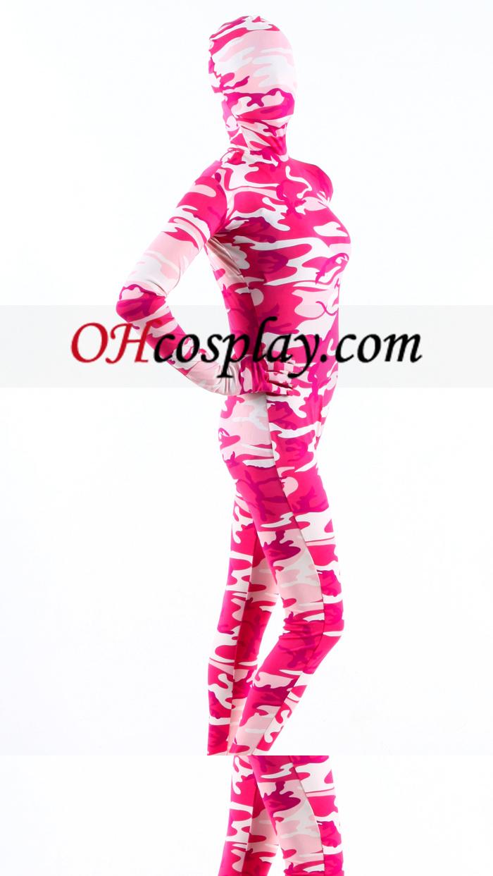 Rosa Camuflaje Lycra Zentai Suit