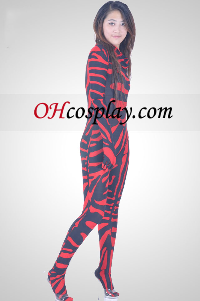 Red And Black Unisex Lycra Spandex Zentai Suit