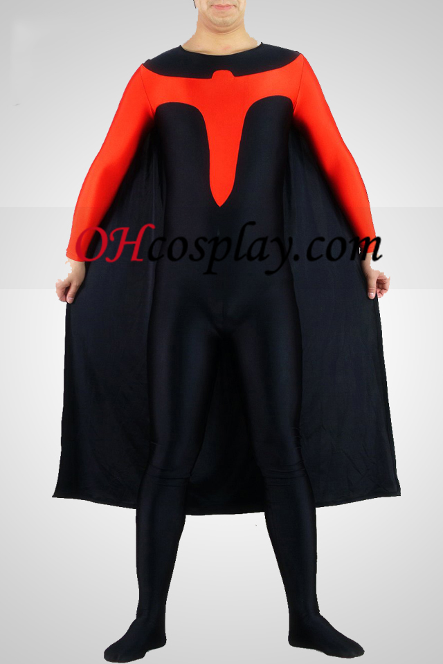 Black And Red Lycra Spandex Catsuit With Cape