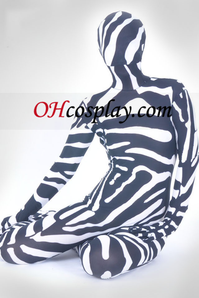 Black And White Lycra Spandex Unisex Zentai Suit