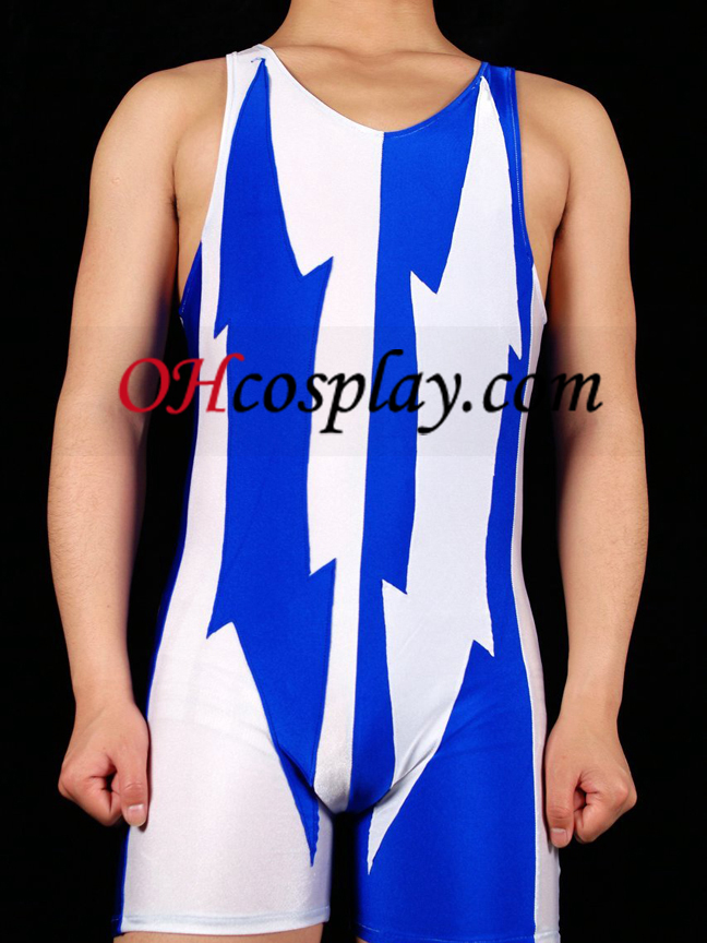 White And Blue Lycra Spandex Gymnasium Catsuit