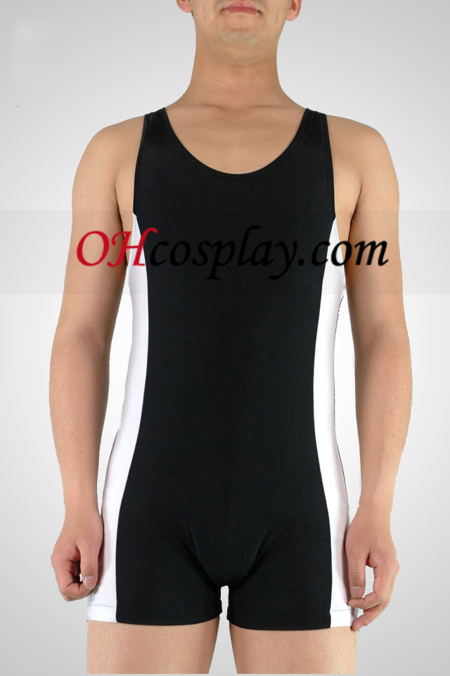 Black And White Lycra Gymnasium Catsuit