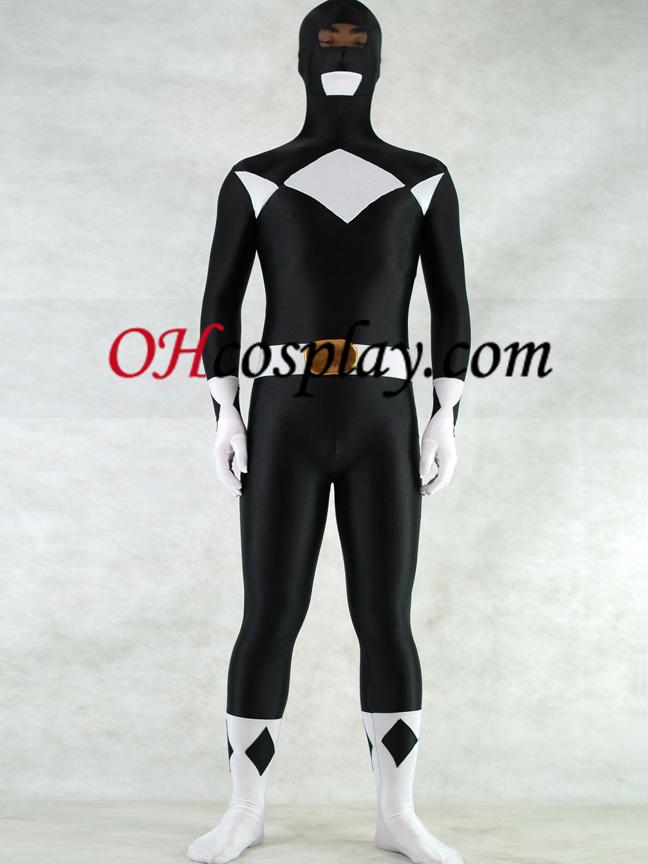White And Black Lycra Spandex Unisex Zentai Suit