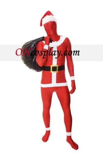 Red White Santa Clause Lycra Zentai Suit