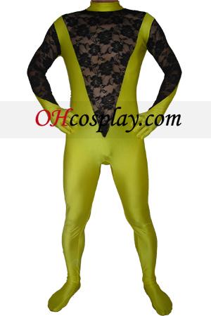 Yellow Black Lycra Lace Zentai Suit
