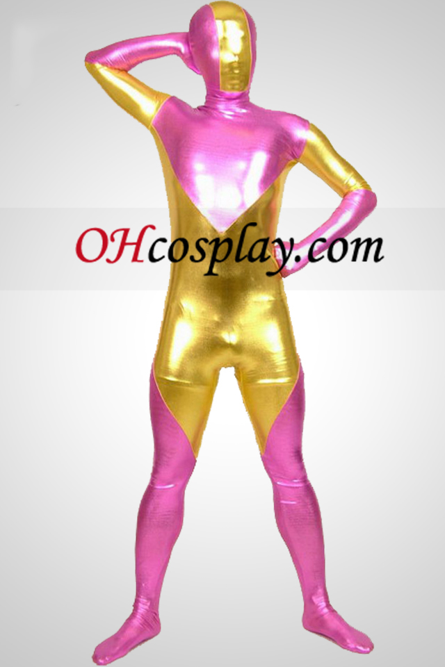 Gull og Pink Shiny Metallic Zentai Suit