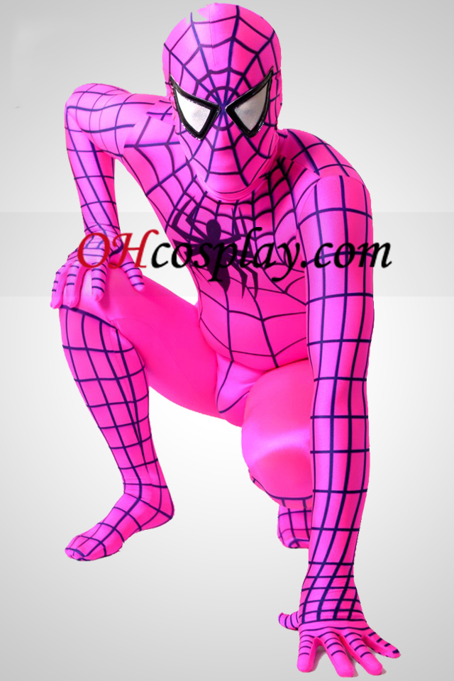 Ciruela Lycra Spandex Spiderman traje Zentai