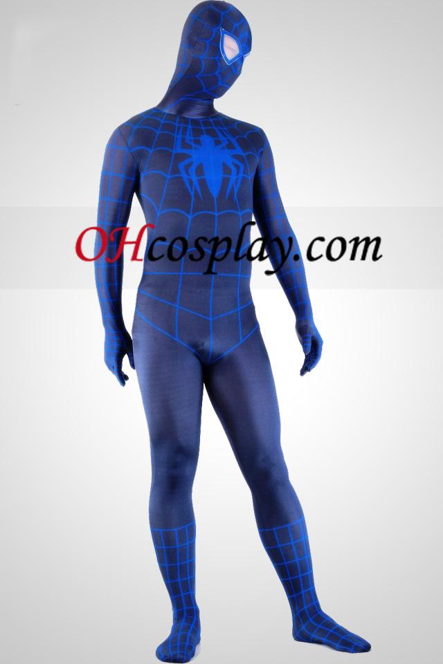 Negro y azul del hombre araña super héroe de traje Zentai