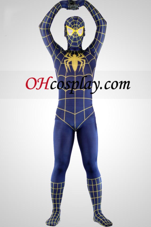 Azul y amarillo Lycra Spandex Spiderman Superhero Zentai Suit
