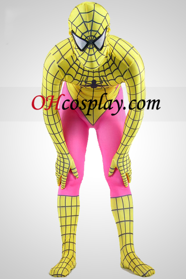 Yellow And Pink Lycra Spandex Spiderman Zentai Suit