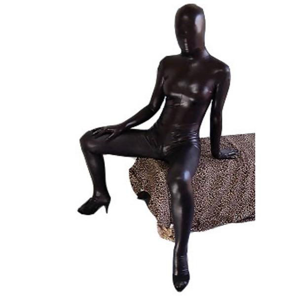 Black Sexy Shiny Metallic Zentai