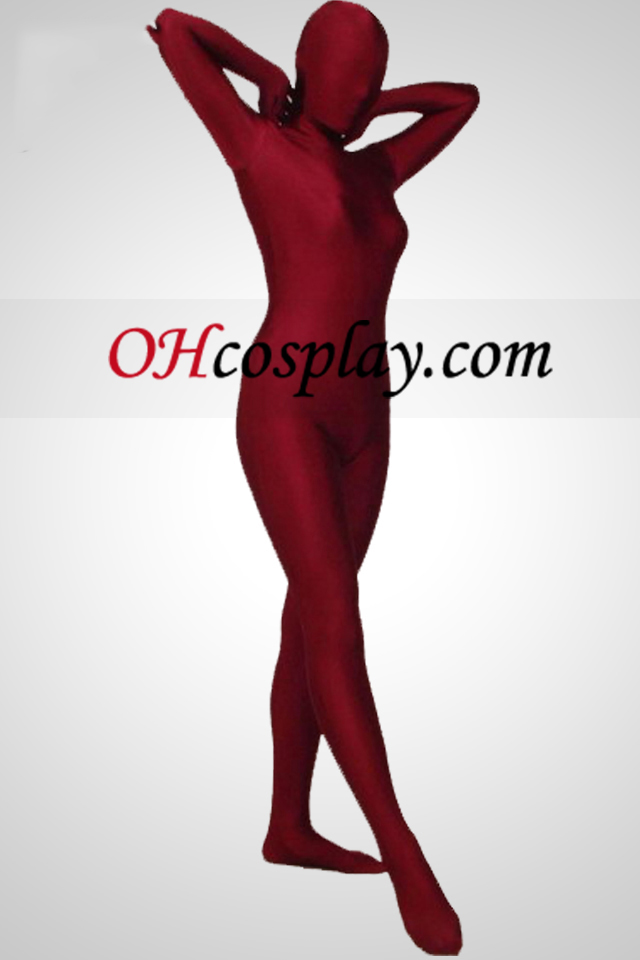 Dark Red Full Body Lycra Spandex Zentai Suit